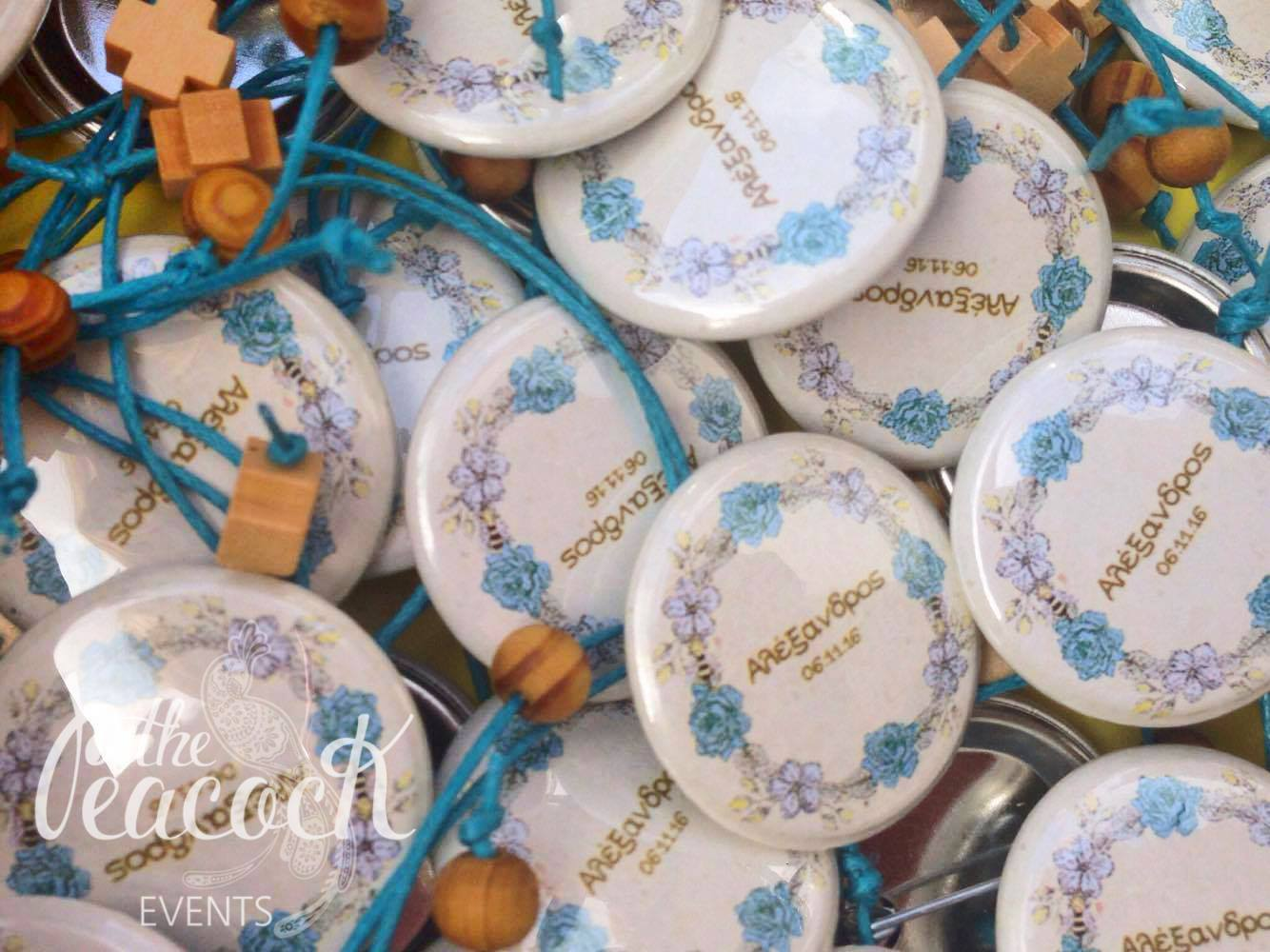 Honey Bee baptism christening martyriko favor cross church witness baby boy guest friend family pin badge wreath flowers beehive box