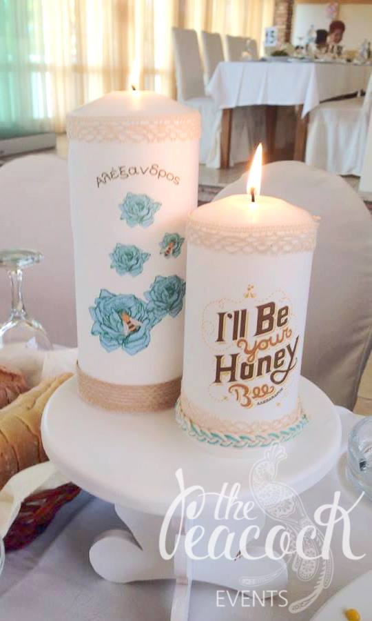 Honey Bee baptism christening martyriko favor cross church witness baby boy guest friend family pin badge wreath flowers beehive box candles handmade printing lace light stand wooden white vintage table cutomized
