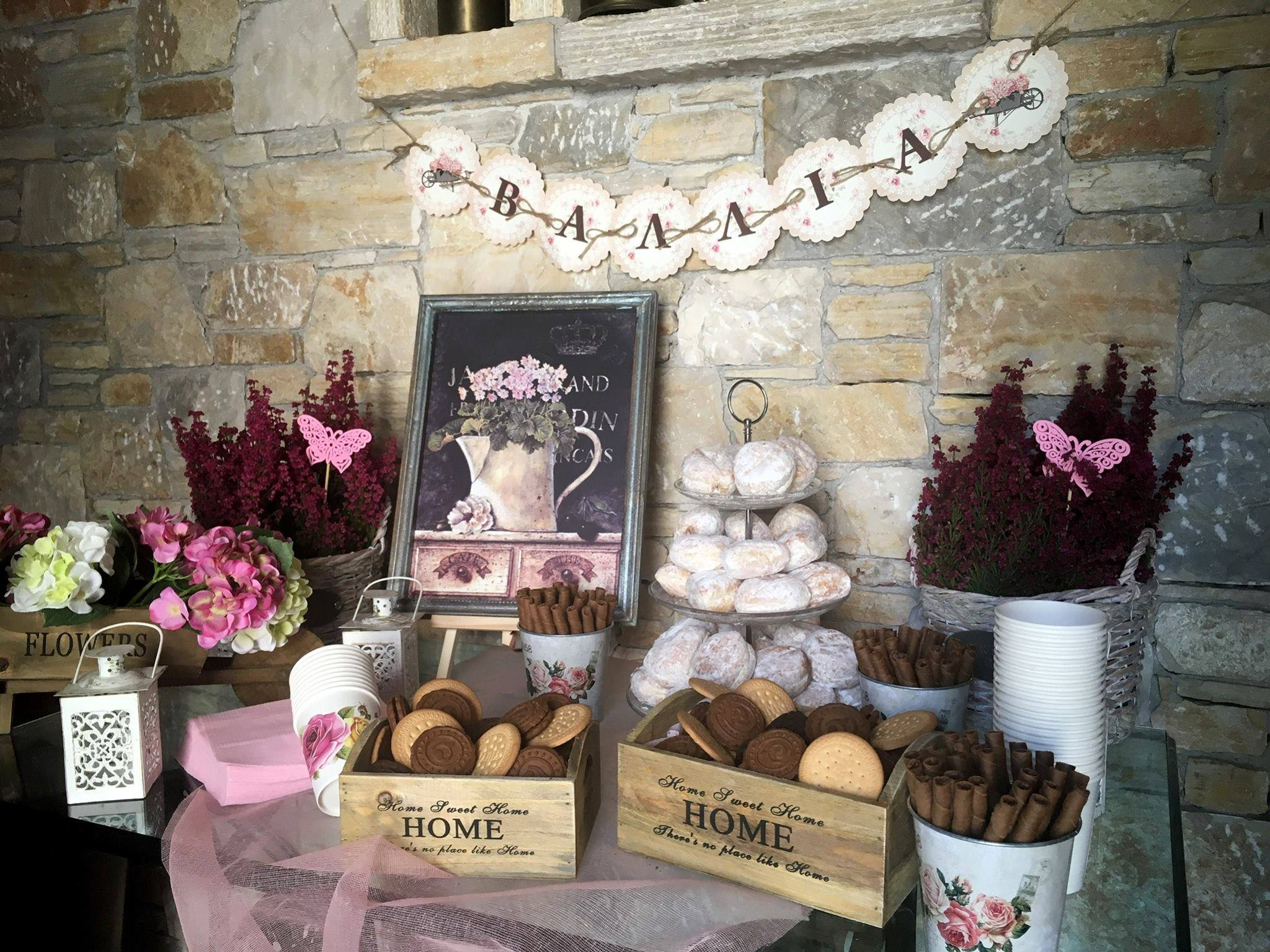 Baptism Christening candy bar vintage romantic name garland table floral boho chic pastel tulle flowers wish sweets donuts backet pot sewing machine rocks cellar blackboard frame decoration bow crates wooden lantern