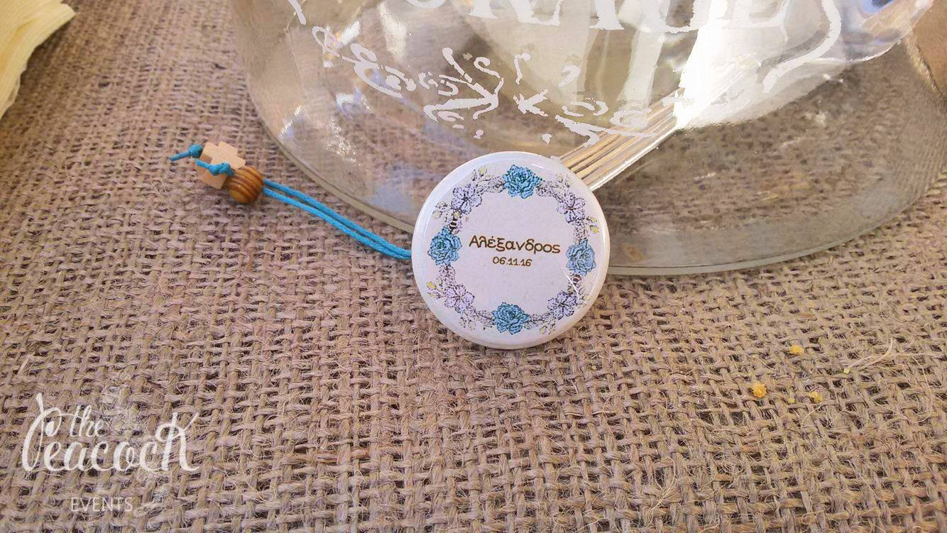 Honey Bee baptism christening martyriko favor cross church witness baby boy guest friend family pin badge