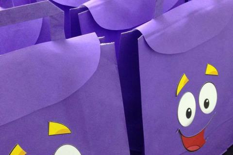 Dora the Explorer birthday party invitations map customized tags happy face handmade backpack favors gifts presents friends guests fun purple paper