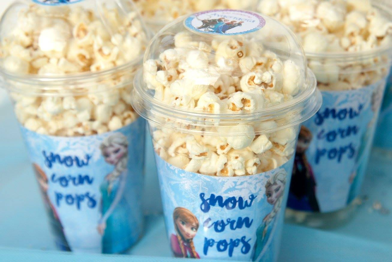 Frozen Elsa Anna party popcorn cups prints custom sticker coffee