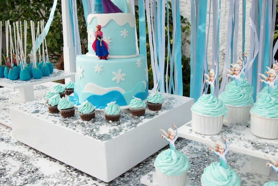 Frozen Elsa Anna party candy bar vintage handmade ribbons cake birthday silver blue white sparkles cake pops cupcakes yard garden