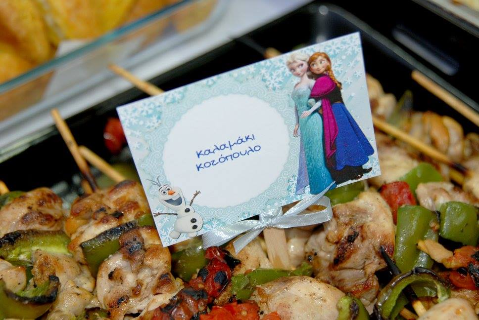 Frozen Elsa Anna party food table tags chicken bell peppers