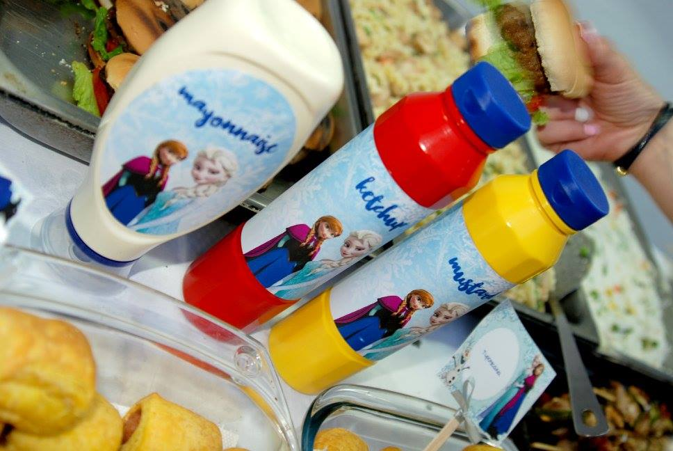 Frozen Elsa Anna party food table tags mayonnaise ketchup mustard