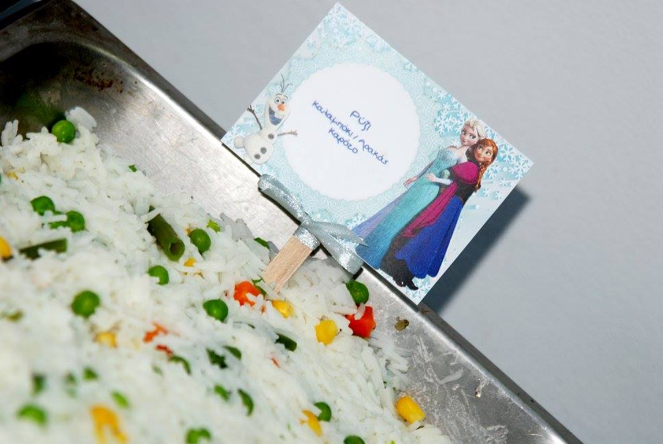 Frozen Elsa Anna party food table tags rice mixed veggies vegetables