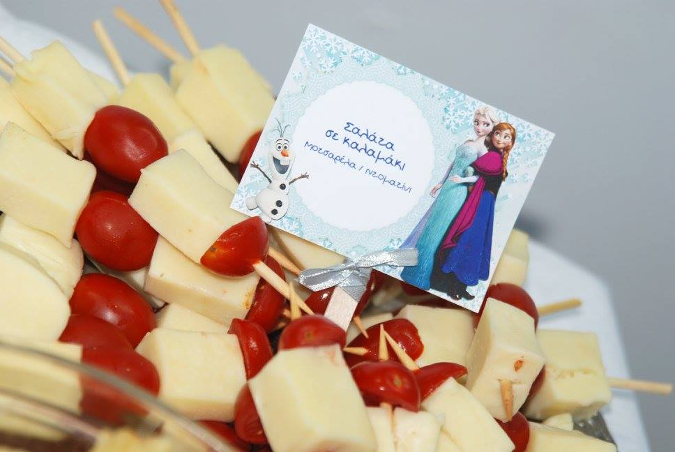 Frozen Elsa Anna party food table tags salad on a stick swiss cheese cherry tomatoe