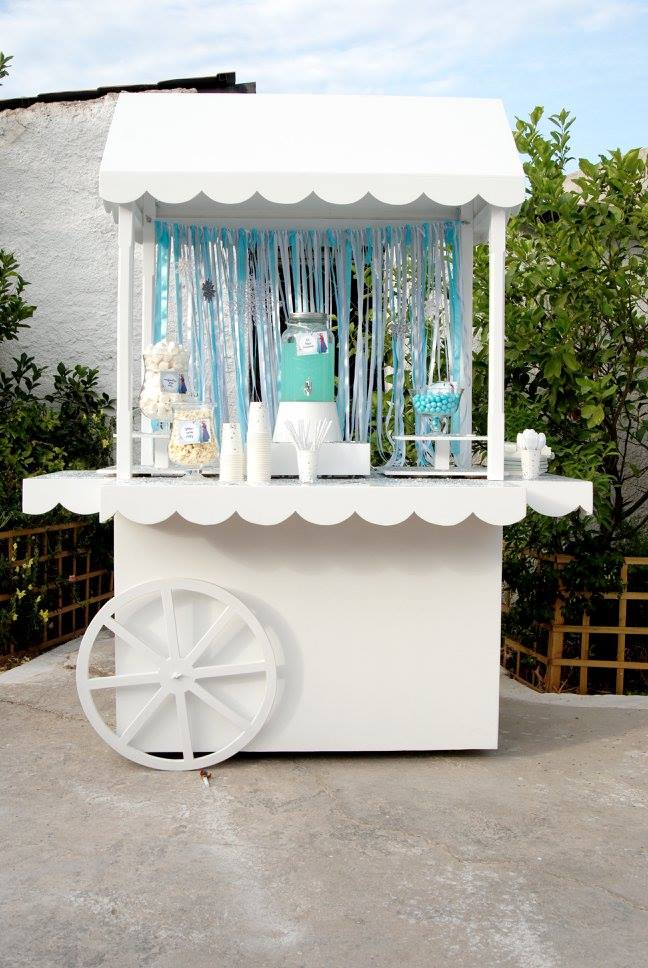 Frozen Elsa Anna party ice blue lemonade glass jar dispencer candy bar ribbons sparkle yard garden pop corn tags pearls candy cart wheel vintage